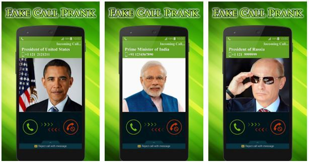 App for fake calls and sms