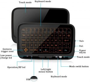 ILEBYGO 2.4Ghz Mini Wireless Keyboard Touchpad Combo